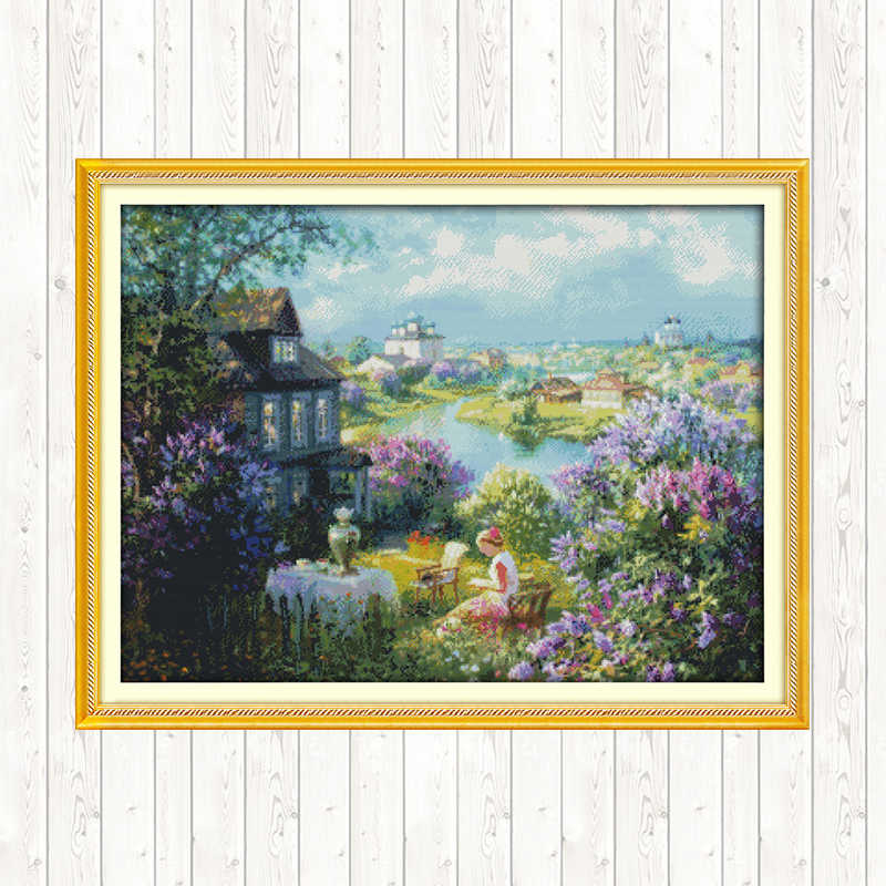 Stad Van Herfst Landschapsschilderkunst Kruissteek Kits Handwerken Set Borduurgaren Dmc 11CT 14CT Print Op Canvas Diy Hand art