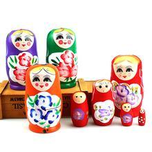 5Pcs Neuheit Cartoon Mädchen Russische Holz Nesting Dolls Hand Gemalt Matryoshka