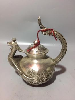 Collection Ancient Chinese White Copper Carving God Animals Phoenix Beautiful Animal Statue Water Pot Teapot Wine Pot