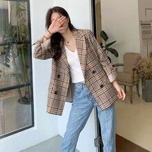 Plaid suit Women's blazer autumn Korean casual vintage Briti