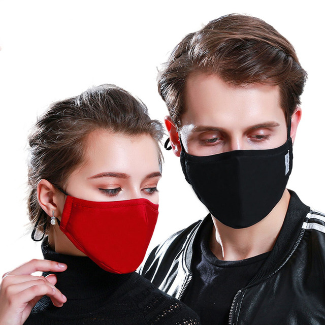 1PCS Cotton PM2.5 Black mouth Mask anti dust Activated carbon filter Windproof Mouth-muffle bacteria proof Flu masks 5