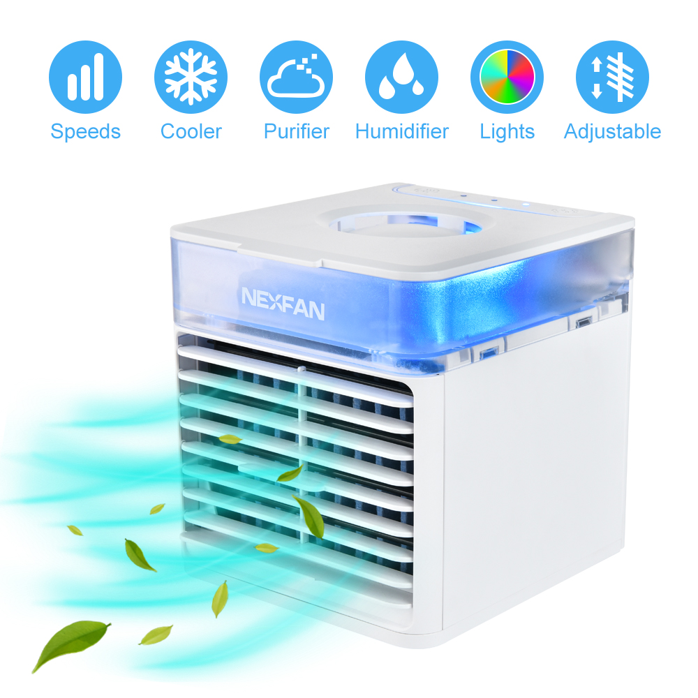 Air Cooler Mini USB Portable Fan Air Conditioner 7 Colors Light Desktop Portable Fan Humidifier Purifier For Home Office Bedroom