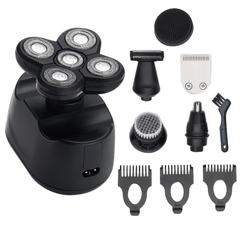 6 in 1 Electric Shavers for Men Bald Head Razors Rechargeable Cordless Wet Dry Rotary Shaver Hair Trimmer LED Display