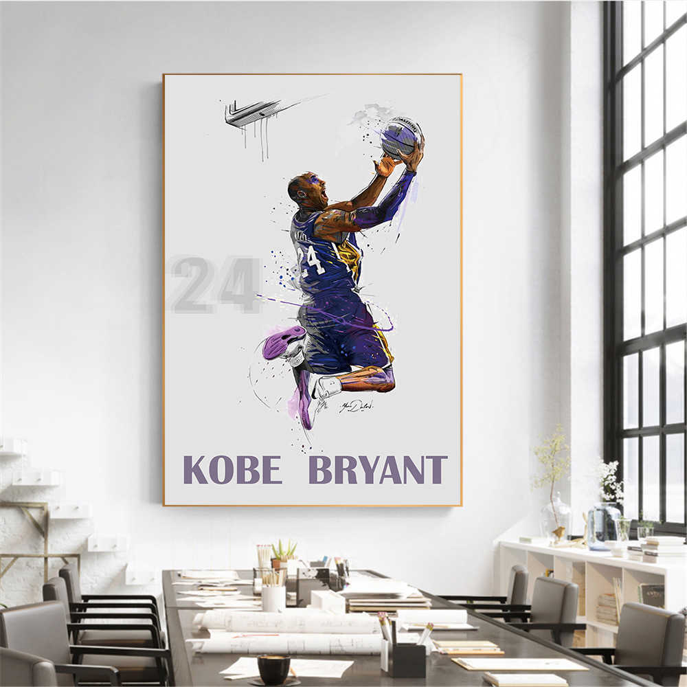 Abstract Art Painting kobe bry Poster Fly Dunk Basketball Wall Pictures for Living Room Decoration Bedroom Sport Canvas oil