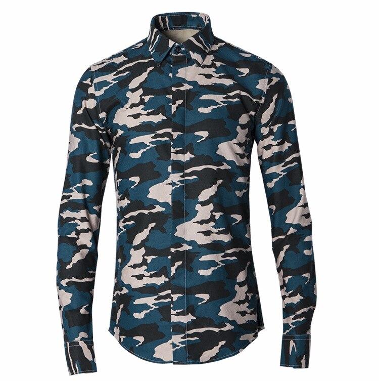 Hommes manches longues Camouflage imprimé décontracté automne printemps militaire Slim Fit mode chemise coréenne Camisa Masculina grande taille