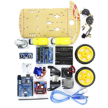 For Kids UNO Project 2WD Smart Robot Car Chassis Kits SR04 Ultrasonic Avoidance Sensor Line Tracking Speed Encoder Motor Module