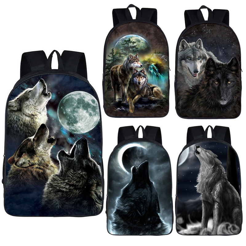 Wolf / Husky Dog Print Backpack Men Women Casual Rucksack Children School Bags For Teenager Girls Boys Daypack Student Book Bag