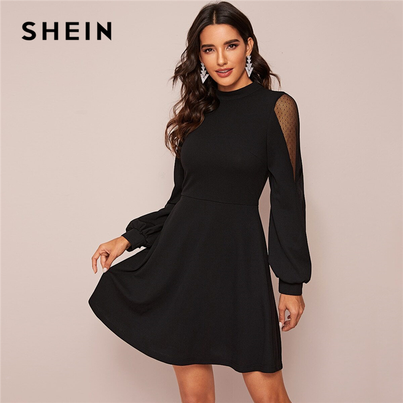 SHEIN Black Solid Stand Collar Swiss Dot Mesh Insert Elegant Dress Women Spring High Waist Zip Back A Line Flared Short Dresses