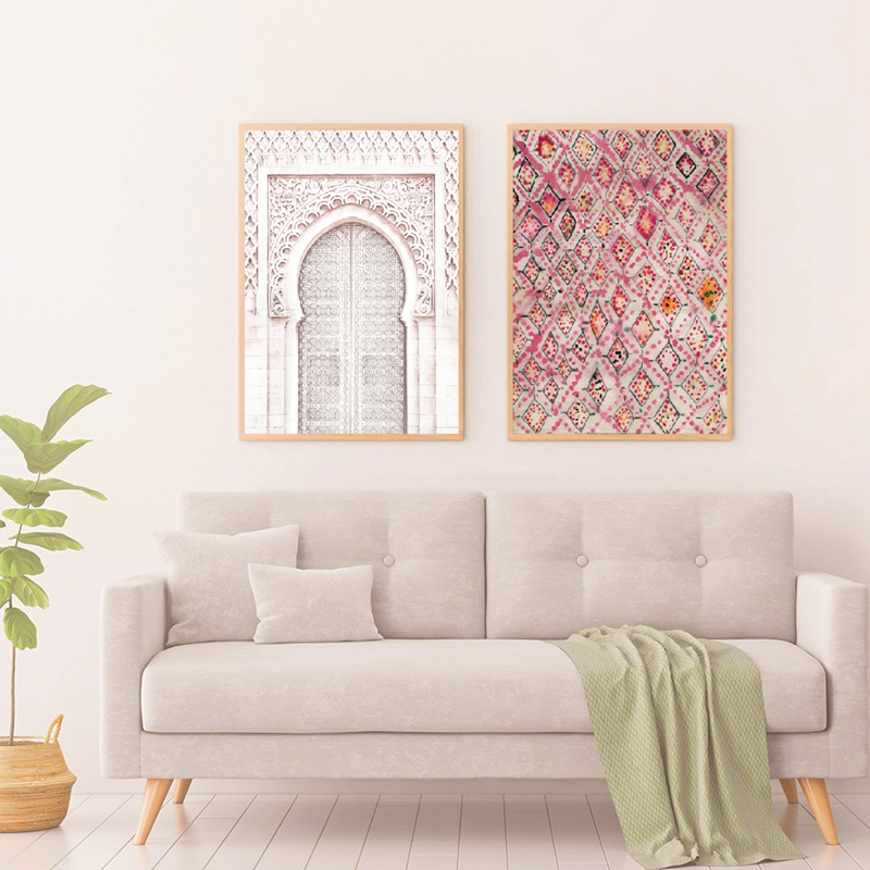 Vintage Pink Rug Art Prints Boho Wall Decor Eclectic Poster , Ancient Gate Morocco Door Art Canvas Painting Artwork Pictures