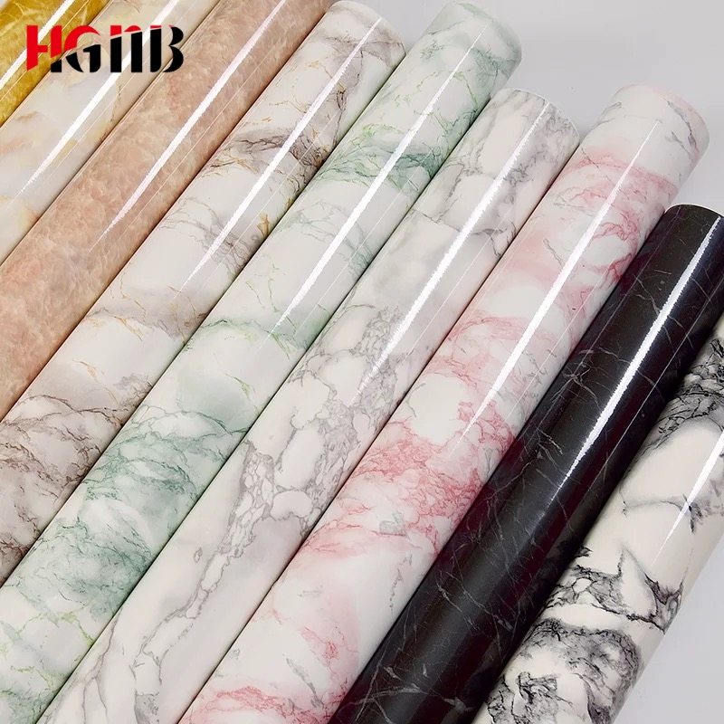 Marble Vinyl Film Self Adhesive Waterproof Wallpaper For Bathroom Kitchen Cupboard Countertops Contact Paper PVC Wall Stickers