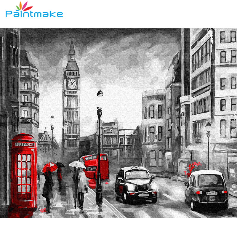 Paintmake Landscape DIY Paint By Numbers no frame Cars Oil Painting On Canvas people For Home Art Decoration Paintings For Kids