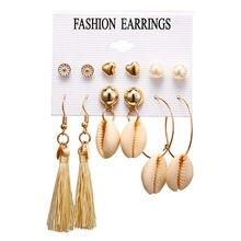 Simulated Pearl Shell Heart Earrings Set 2019 For Women Geometric Gold Round Drop Dangle Earring Korean Statement Jewelry