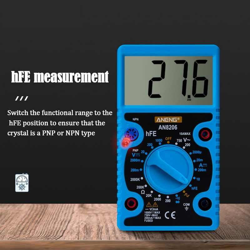 AN8206 휴대용 디지털 멀티 미터 LCD 백라이트 휴대용 AC/DC 전류계 전압계 옴 전압 테스터 미터 멀티 미터