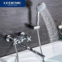 LEDEME bateria do łazienki chromowane wykończenie nowy ścienny wodospad wanna do łazienki ręczny bateria prysznicowa mikser kran L2584