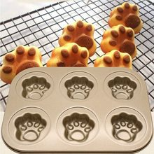Golden Non-stick Madeleine Mold Bear Paw Shell Donut Pig Shape Carbon Steel 6 Cup Cake Mold Bakeware(China)