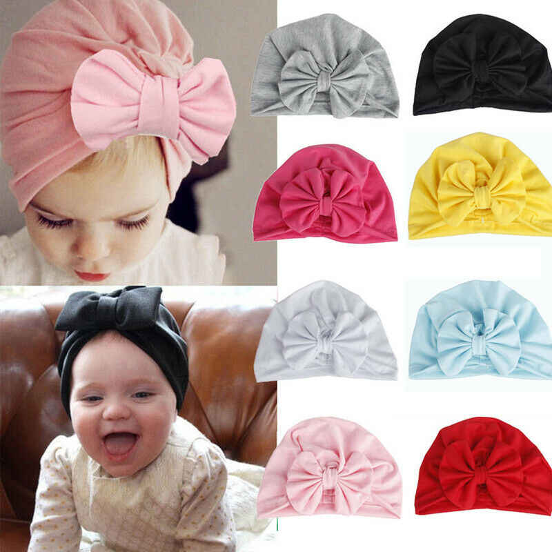 Goocheer Girls Boys Baby Child Bowknot Solid Color Stretchy Turban Casual Hat Hair Head Wrap Cap Accessories