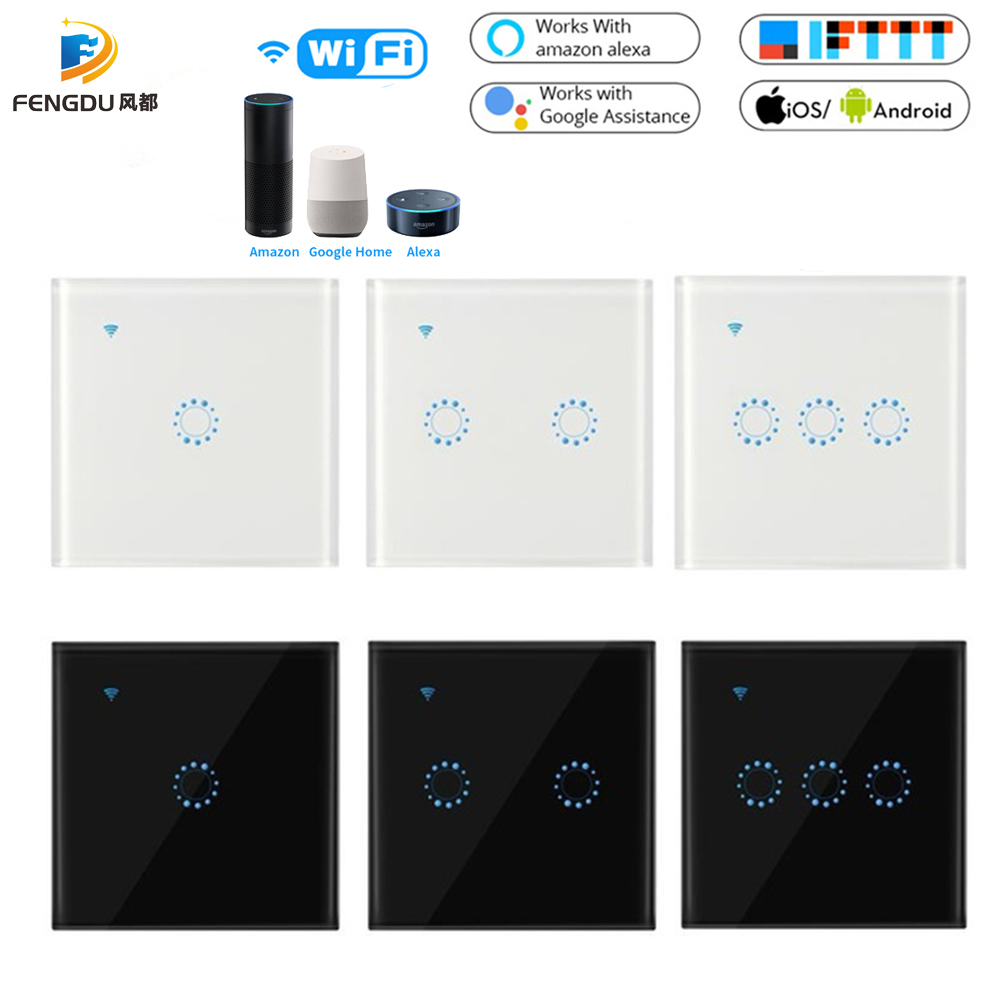 Touch Switch Smart Light Switch Wall Switch 1/2/3 Gang Wifi Light Switch US/EU Standard Work With Alexa Google Home