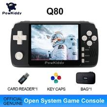 "Powkiddy q80レトロビデオゲームコンソールハンドセット3.5 ""ipsスクリーン内蔵4000ゲームオープンシステムPS1シミュレータ48グラムメモリ新ゲーム"