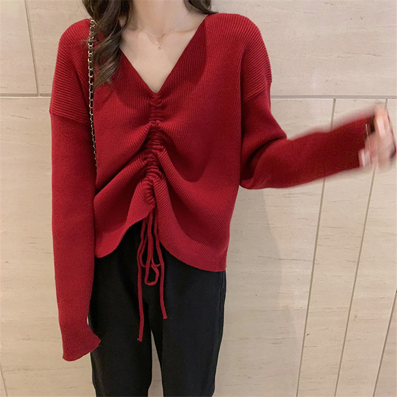 Focal20 Streetwear Drawstring Solid Women Sweater Top Loose V Neck Female Pullovers Jumpers Oversize Autumn Lady Sweaters Tops 2
