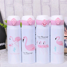 2019 NEW Bpa-free 500ML Stainless steel Portable Flamingo sports baby children vacuum Flasks water bottle thermos cup