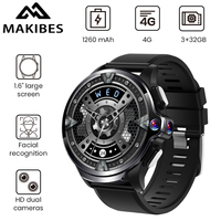 Makibes M60 1.6 Dual Cameras 3GB+32GB GPS Smart Watch Phone 1260mAh Battery Facial recognition 4G WiFI Answer call SIM TF card