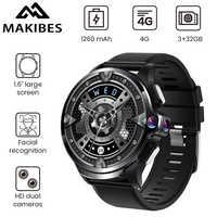 "Makibes M60 1.6 ""Dual Kameras 3GB + 32GB GPS Smart Uhr Telefon 1260mAh Batterie Gesichts anerkennung 4G WiFI Antwort anruf SIM TF karte"