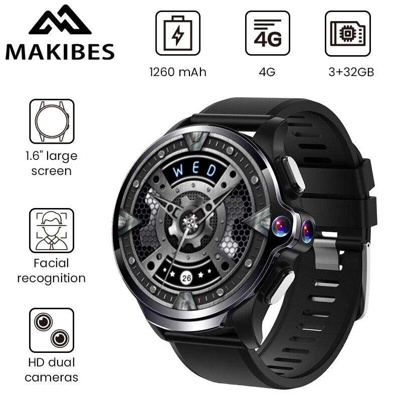 """Makibes M60 1.6 """"double caméras 3GB + 32GB GPS montre intelligente téléphone 1260mAh batterie reconnaissance faciale 4G WiFI réponse appel carte SIM TF"""