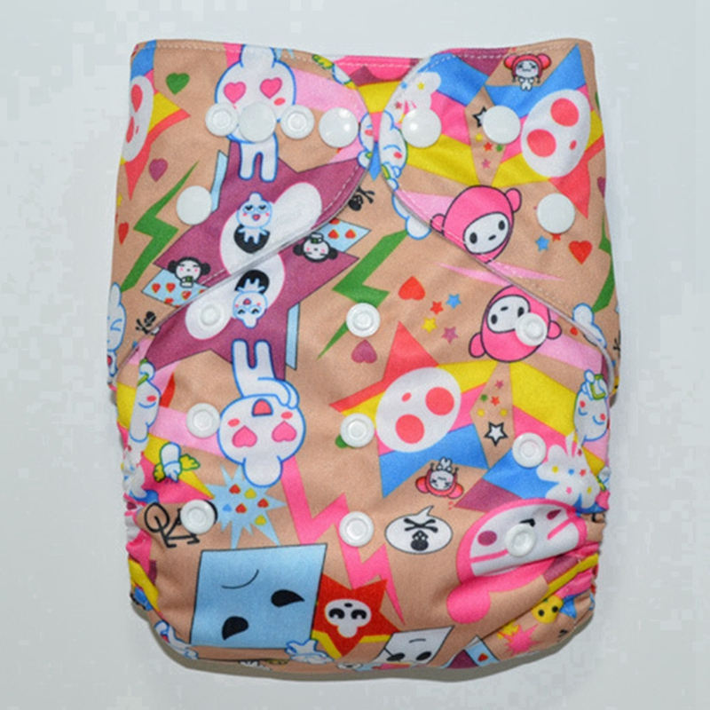 Reusable Pocket Diaper Waterproof TPU Printed Baby Diaper Washable Cloth Diaper With 1pc Microfiber Insert FT77