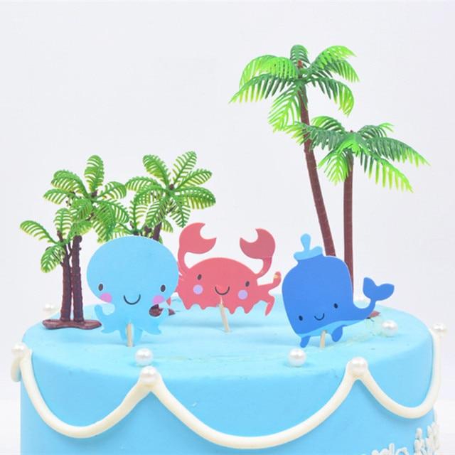 Bricolage gâteau drapeau gâteau Topper joyeux anniversaire cocotier gâteau Topper pour Cupcake fête danniversaire décoration