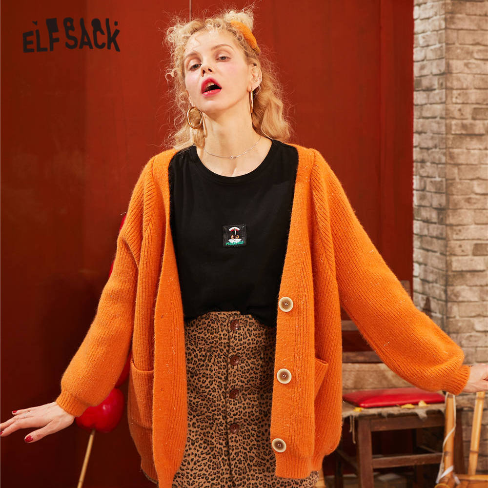 ELFSACK Multicolor Solid Single Button Knit Casual Cardigan Women Sweaters 2020 Spring Pure Long Sleeve Korean Ladies Daily Top