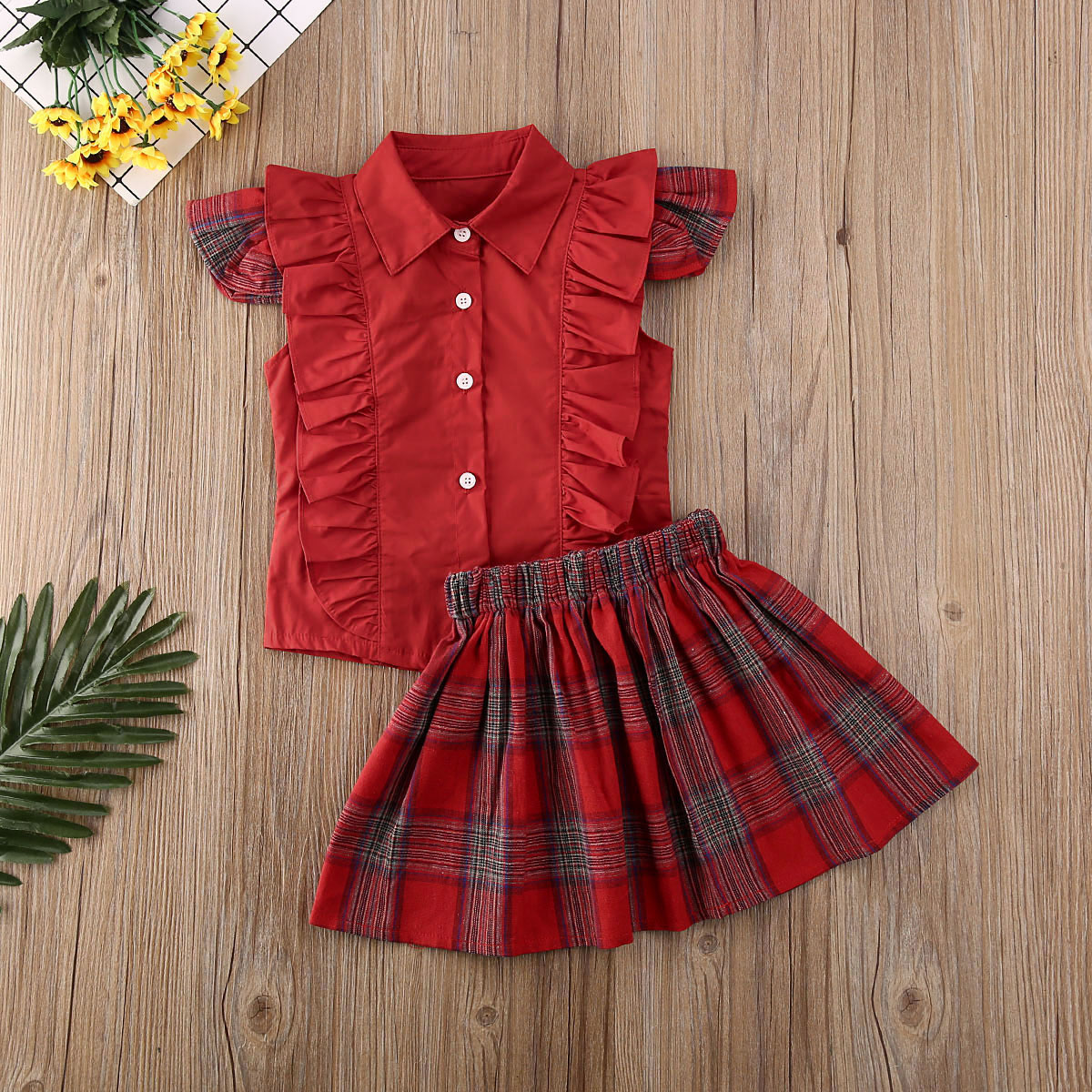 Pudcoco Newest Fashion Toddler Baby Girl Clothes Solid Color Sleeveless Ruffle Tops Plaids Mini Skirt 2Pcs Outfits Clothes