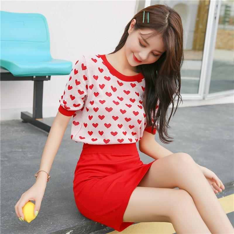 2019 Summer Wear New Style Korean-style Sweet Heart Knit Elegant Tops Skirt Two-Piece Set