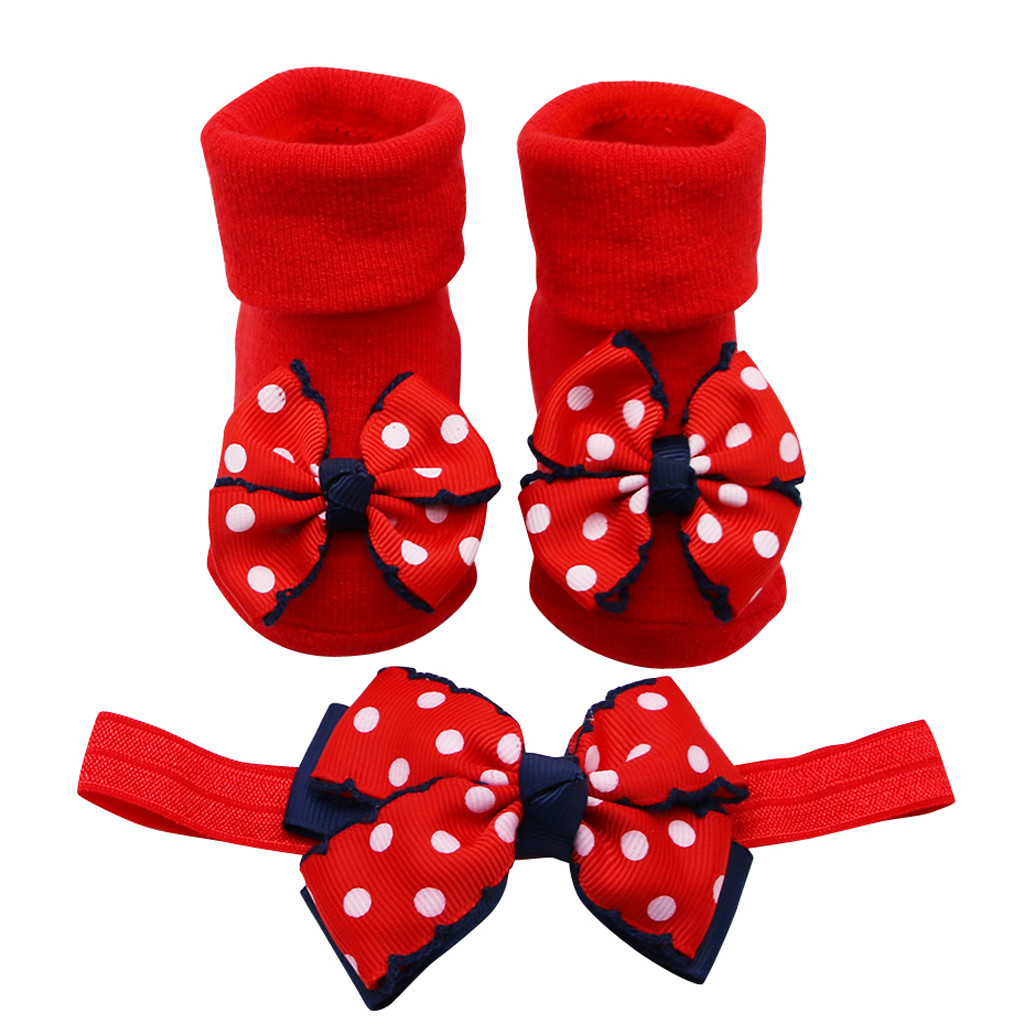 Baby Shoes Foot Socks Baby Infant Socks +1PC Hairband Toddler Girls Bow Wave Point Anti-slip Newborn Baby Shoes Chaussure Enfant