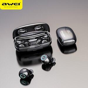 Image 1 - AWEI T19 TWS 5,0 2500 мАч светодиодный дисплей супер бас стерео наушники с шумоподавлением водонепроницаемый IPX5 с двойным микрофоном для игр, спорта