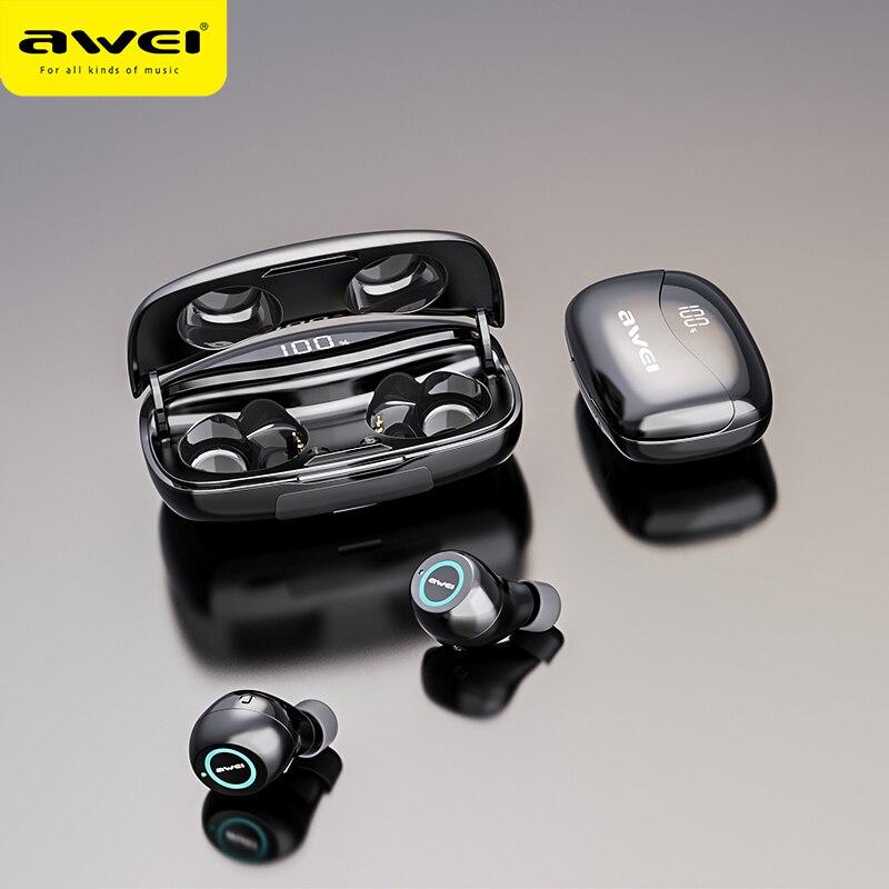 AWEI T19 TWS 5,0 2500 мАч светодиодный дисплей супер бас стерео наушники с шумоподавлением водонепроницаемый IPX5 с двойным микрофоном для игр, спорта