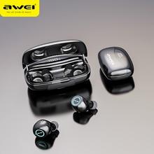 Awei T19 tws 5.0 2500 ledディスプレイスーパー低音ステレオイヤフォンノイズキャンセル防水IPX5デュアル用マイクゲーム、スポーツ