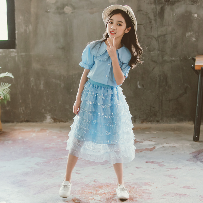 Girl Summer Skirt Set Hipster Clothing Suit Doll Collar Blouse Sequin Blue Skirts Two piece Sets 2019 Children Cake Skirt For Te in Clothing Sets from Mother Kids