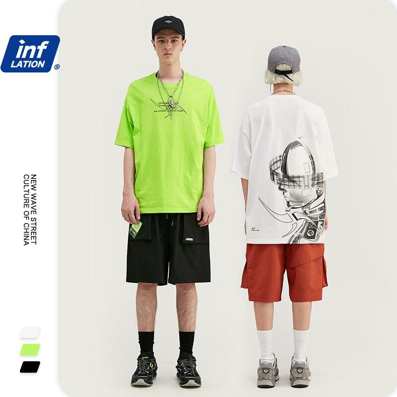 INFLATION Hip Hop Men Tshirt Print T Shirts Men Streetwear T-shirt 2020 Summer Fashion Short Sleeve Tees Male O-Neck Tops 1053S2