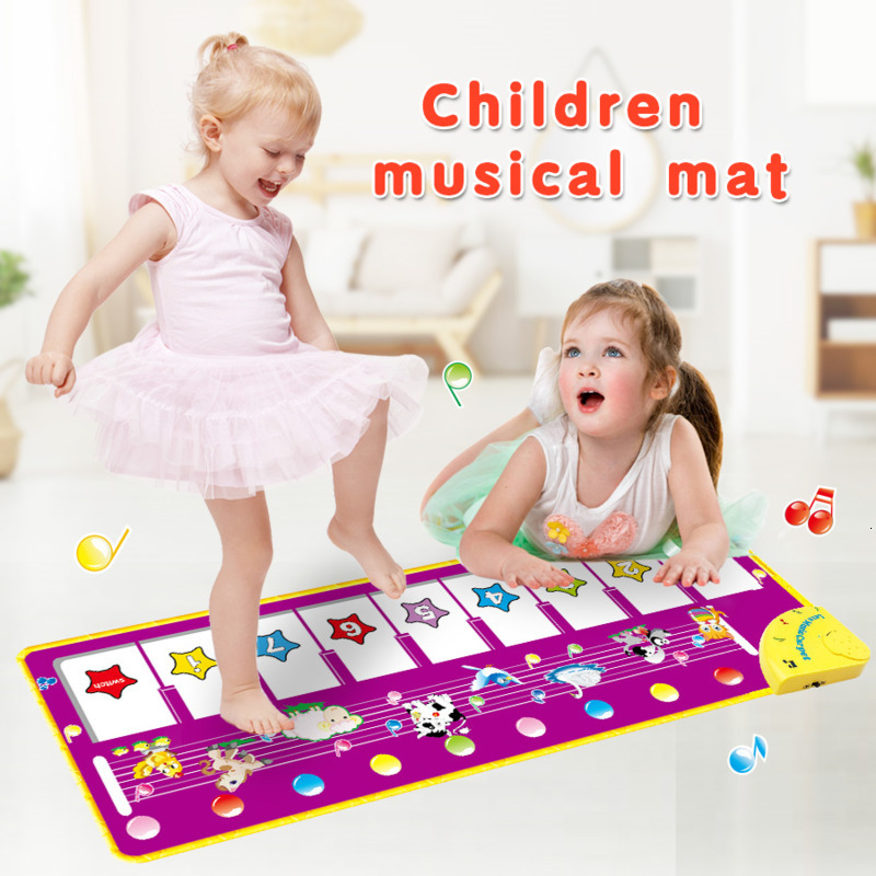 100x36cm Musical Mat Keyboard Piano Play Mat With 8 Animals Sounds Music Instrument Education Learning Toys For Children Girls