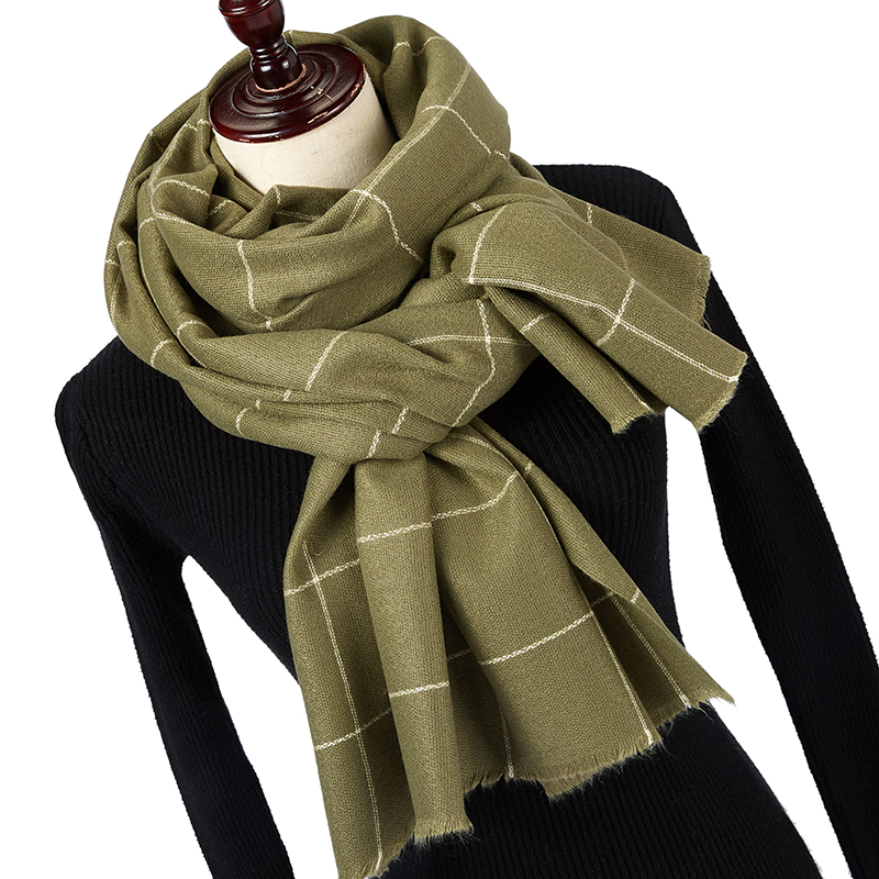 Winter Solider Color Knitting Fashion Plaid Scarf For Women Ladies Cashmere Pashmina Scarf Long Scarf Thicker