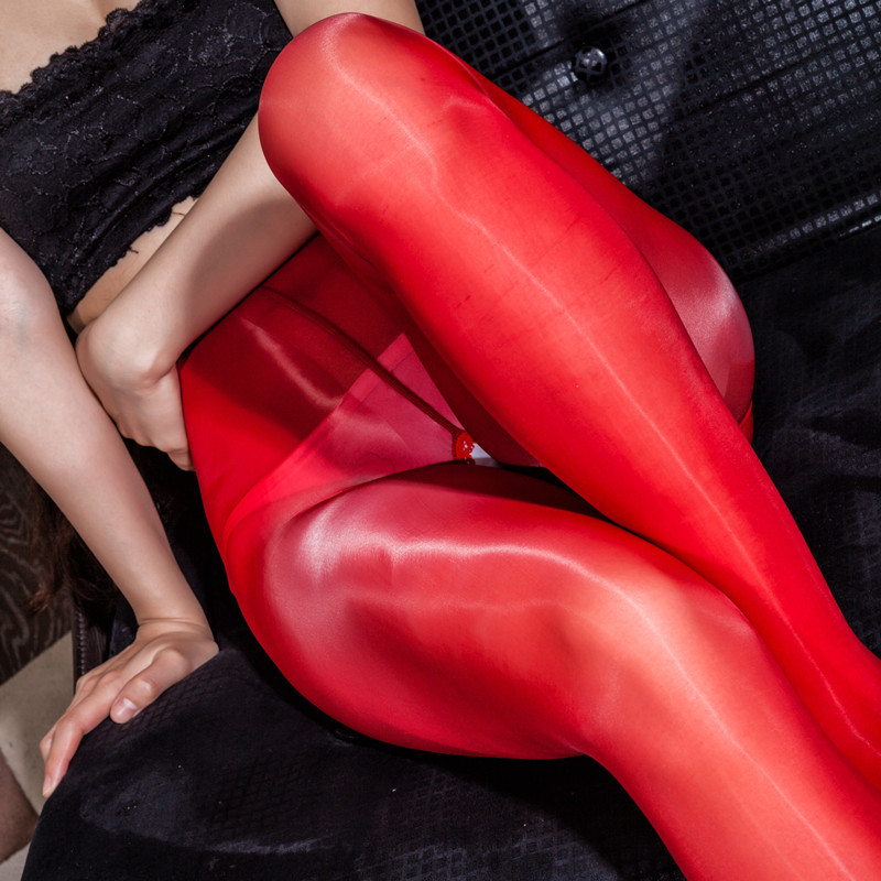 Open Crotch Oil Glossy Glitter High Waist Leggings Sexy Hot Erotic Fetish Transparent Thin Nylon Bodynets Legging Clubwear Pants