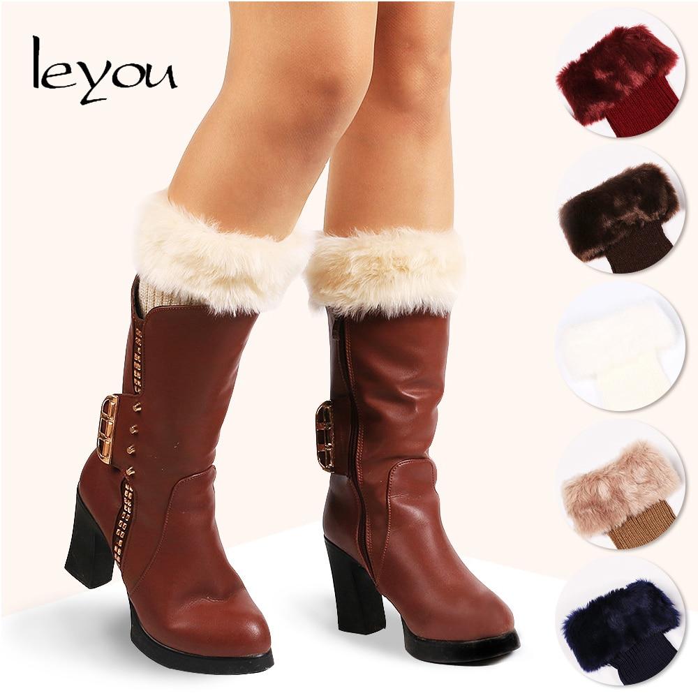 Leyou Leg Warmers Fur Boot Socks Toppers Knitted Leg Warmer Women Boot Cuffs Autumn Winter Knitting Socks Acrylic Fibers Warmers