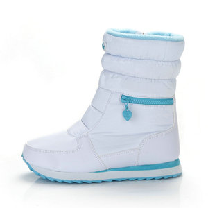 Image 1 - Winter Boots Women Warm Snow Boot Shoe 30% Natural Wool Footwear White Color BUFFIE 2020 Big Size Zipper Mid calf Free Shipping