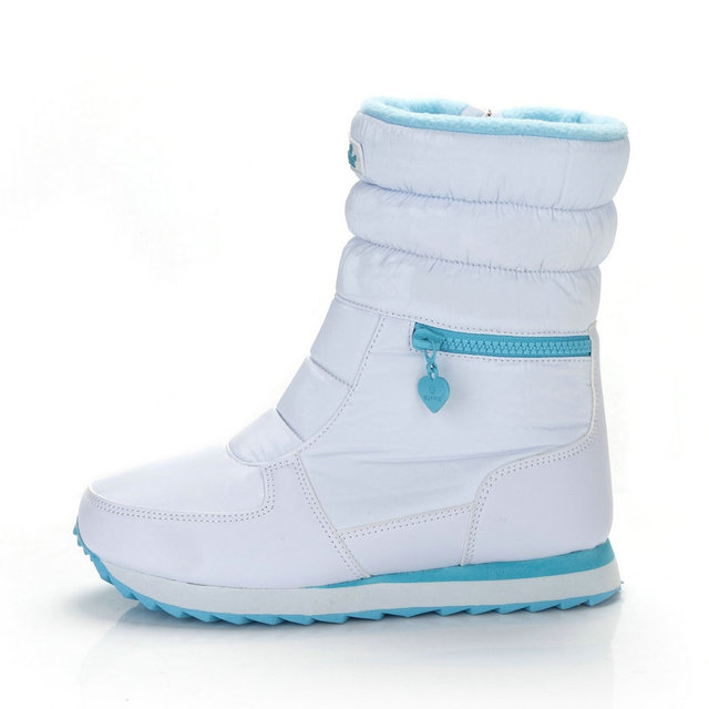 Winter Boots Women Warm Snow Boot Shoe 30% Natural Wool Footwear White Color BUFFIE 2020 Big Size Zipper Mid calf Free Shipping