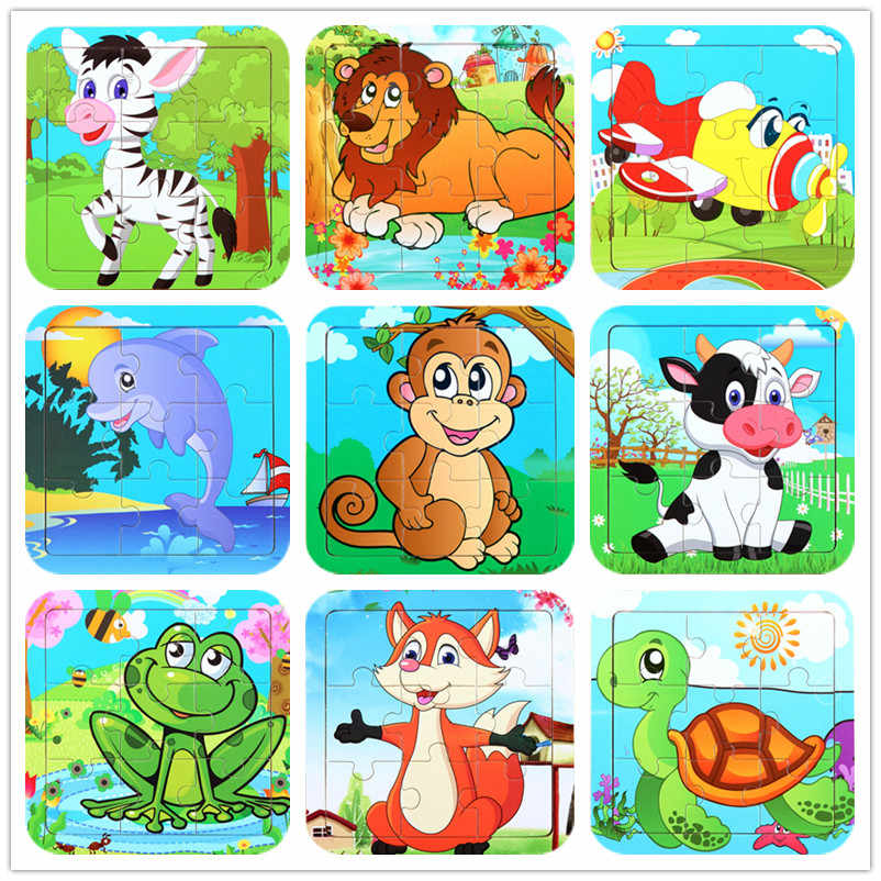 Montessori Baby Toys Wooden Puzzle / Education Wooden Toy Cartoon Car Sea Animal Puzzle Cartoon Anime Set / Children's Toys Gift