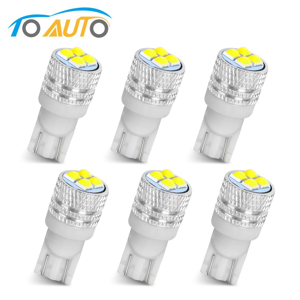 6pcs T10 W5W 194 168  LED Car Interior Reading Dome Lights Marker Lamp Auto Wedge License Light Bulbs White 12V
