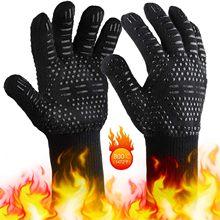 Churrasco quente grelhar luvas de cozinha extrema resistente ao calor luvas de solda forno alta qualidade churrasco luva 1pc