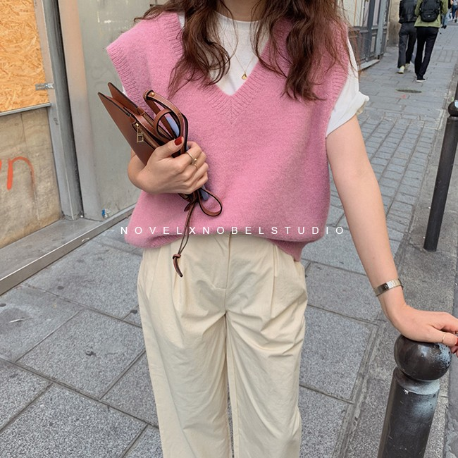 New V Neck Girls Pullover Vest Sweater Autumn Winter Pink Knitted Women Sweaters Vest Sleeveless Warm Sweater Casual Oversize