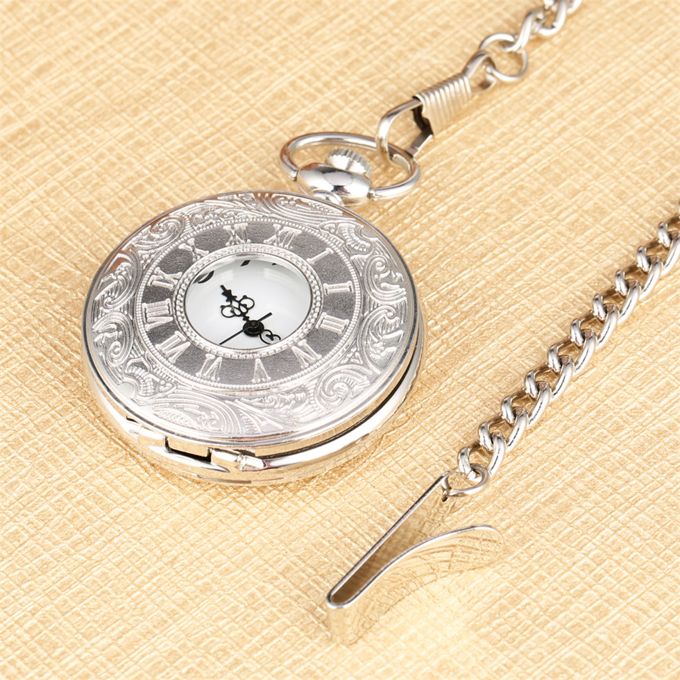 Classical Silver Hollow Pocket Watch With Pocket Chain For Men Roman Numerals Dial Pendant Watches Gift For Boyfriend  Drop Ship