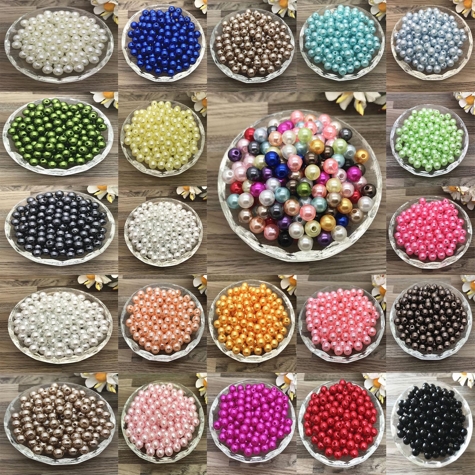 Акриловые жемчужные бусины, круглые бусины россыпью с отверстием, 4 мм, 6 мм, 8 мм, 10 мм, для изготовления ювелирных изделий «сделай сам»